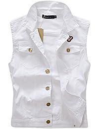 Mens Casual Lapel Retro Sleeveless Jacket Waistcoat Jeans Vest Outerwear Slim Fit