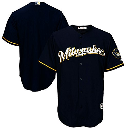 Milwaukee Brewers MLB Mens Majestic Cool Base Replica Jersey Navy Blue Big & Tall Sizes – DiZiSports Store