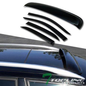 Topline Autopart Sun Rain Vent Window Visor+Sunroof Moon Roof Guard 2003-2007 Honda Accord 4D/4Dr ()