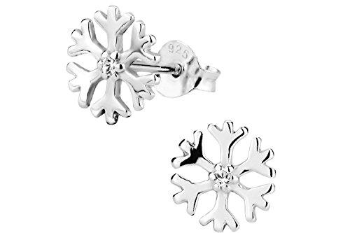 Hypoallergenic Sterling Silver CZ Crystal Snowflake Stud Earrings for Kids (Nickel Free)