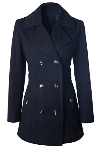 Moly Magnolia Womens Double Breasted Lapel Pocket Outwear Trench Wollen Coat Navy Blue XL