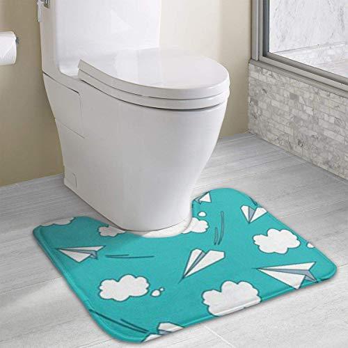 Beauregar Cartoon Paper Airplane Clouds Contour Bath Rugs,U-Shaped Bath Mats,Soft Polyester Bathroom Carpet,Nonslip Toilet Floor Mat 19.2″x15.7″