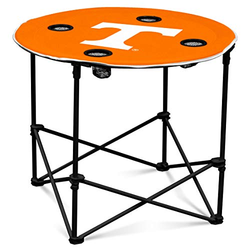 (Tennessee Volunteers Collapsible Round Table with 4 Cup Holders and Carry Bag)