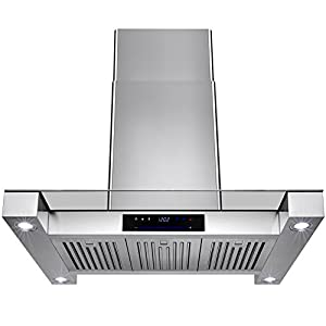 "Golden Vantage 36"" Inch Convertible Stainless Steel Island Mount Range Hood Cooker Fan Oven Vent Exhaust With Touch Screen Panel Display LED Controls Light Lamp Baffle Filters"