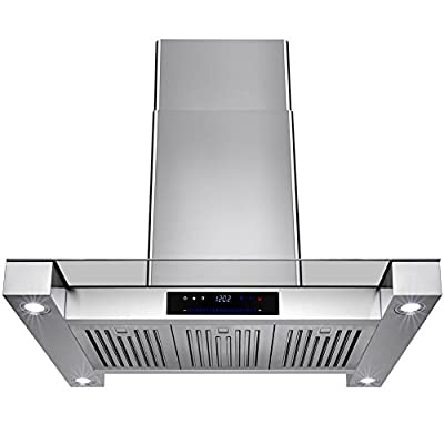"""Golden Vantage 36"""" Inch Convertible Stainless Steel Island Mount Range Hood Cooker Fan Oven Vent Exhaust With Touch Screen Panel Display LED Controls Light Lamp Baffle Filters"""