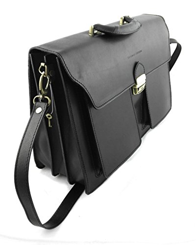 Measures Leather 5 x Luggage Black Hand Briefcase inchs Men 8 15 Colour 9 Zerimar Leather x 11 7 Brown qwdFqY