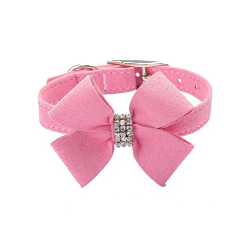 Bow Tie Crystal Boy Girl Dog Collar Designer Fancy Bling Rhinestone Collars for Dogs