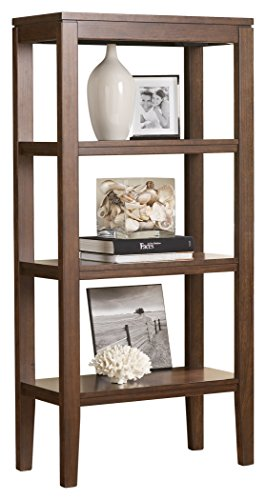 Open Media Cabinet (Ashley Furniture Signature Design - Deagan Pier Cabinet - 3 Fixed Shelves - Contemporary - Dark Brown)