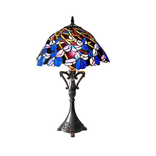 Chloe Lighting CH18052BF19-TL2 Natalie Tiffany-Style Iris Table Lamp with 19