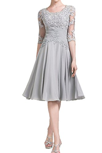 Honey Qiao Scoop Lace Pleat Mother Of The Bride Groom Dresses Sheer Half Sleeves