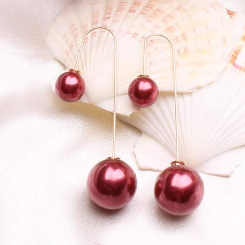 bromrefulgenc Women U-Shaped Double Sided Faux Pearl Ball Drop Dangle Earrings Party Jewelry Burgundy ()