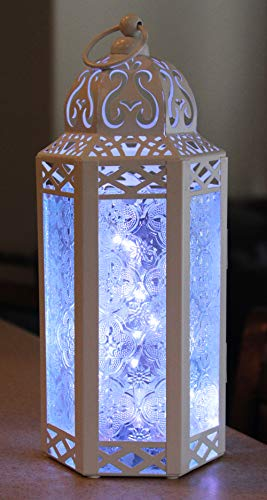 Vela Lanterns Moroccan Style Candle Lantern with LED Lights, Medium, Clear Glass, White