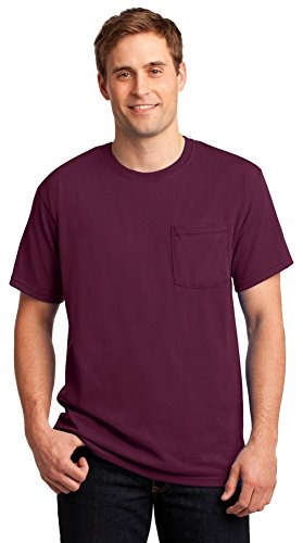 (JERZEES Mens Heavy Blend Cotton/Poly Pocket T-Shirt, Large, Maroon)