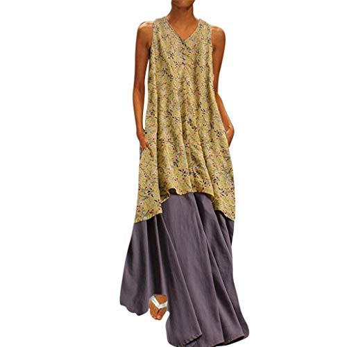 TANGSen Women Sleeveless V Neck Dress Plus Size Floral Printed Cotton Linen Maxi Loose Summer Beach Dresses Yellow