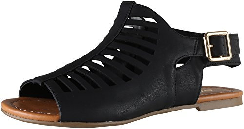 Soda Shoes Women's Bovino Flats Fisherman With Zipper, Black Pu, 7 (Flat Soda compare prices)
