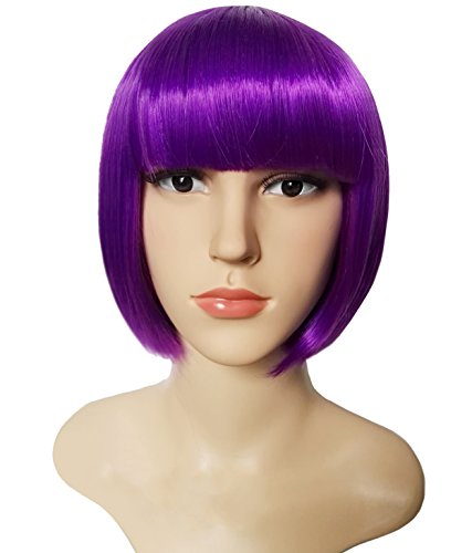 "Katy Perry Blue Hair Costumes - New AnotherMe Charming Purple Short Bob Hair Wig 11.5"" Heat Resistant Party"