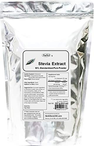 NuSci Stevia Extract Powder 8 oz 227g Standardized 90 Total steviol glycosides, 250 Times Sweeter Than Sugar
