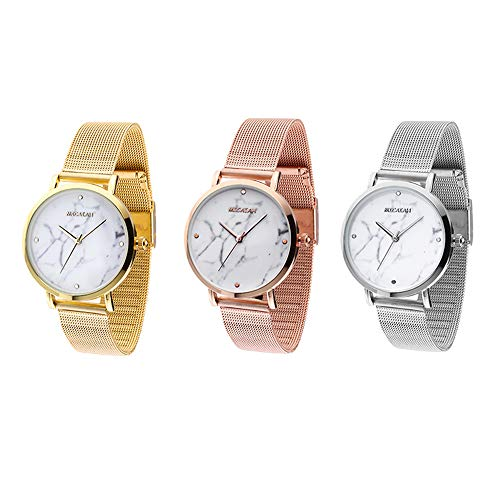 FIILIIP 3PCS Women Watches Casual Fashion Waterproof Wrist Quartz Watch Stainless Steel Band Strap Bracelet Mixed Color (Style 1)