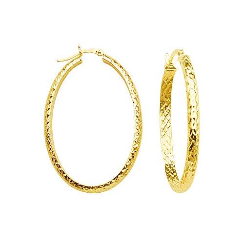 Hoop Earrings, 14Kt Gold Hoop Earring by DiamondJewelryNY