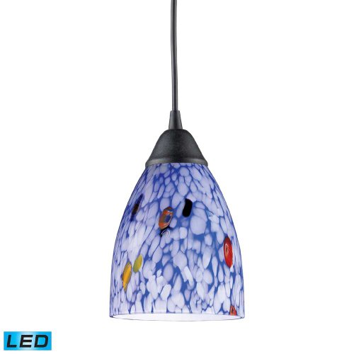 picture of Elk 406-1BL-LED Classico 1-LED Light Pendant with Starburst Blue Glass Shade, 5 by 7-Inch, Dark Rust Finish
