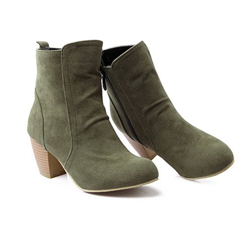 Green Frosted Ladies Boots Heels BalaMasa Chunky Zipper Solid nAxv6Pwq