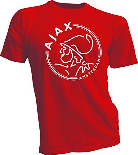 6b2d84750 AFC Ajax Amsterdam Football Club Soccer T-SHIRT white logo Red Large