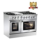 Thor Kitchen HRG4808U 48' Free Standing&Slide- in Gas Range 6 Burners 1 Griddle 6.7cu.ft Oven Propane/NG Double Oven