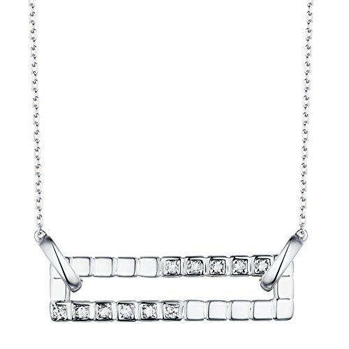 Prism Jewel 0.10Ct G-H/SI1 Round Natural Diamond Open Rectangle Shape Chain Necklace, 14k White Gold ()