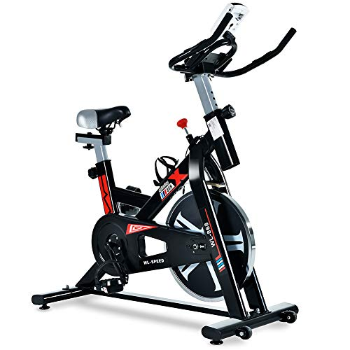RIMMOCA Indoor Cycling Bike, Silent Belt Driven Exercise Bike with LCD Monitor for Home Cardio and Workout, Adjustable Non-Slip Handlebar and Padded Seat, Maximum Load 330lbs