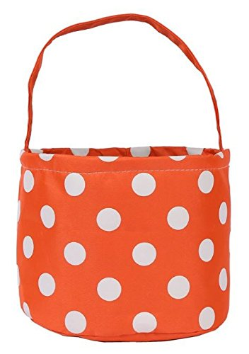Jolly Jon Halloween Candy Bags Bucket Basket - Trick or Treat Goody Bag - Reusable Durable Handled Canvas Design - Orange with White Polka Dots - by]()