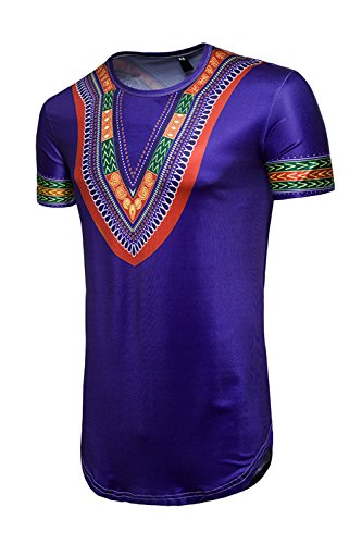Hipster Tops Azul Casual Hop De Africana Hombre Hip Floral Tribal Camiseta qWBA6xwaw