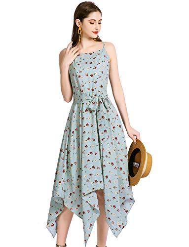 Gardenwed Chiffon Dresses for Women Floral Sundresses Asymmetrical Summer Dresses for Women Party Wedding Blue Little Flower M