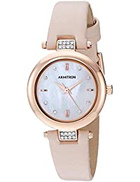 Women's Swarovski Crystal Accented Rose Gold-Tone and Blush Pink Leather Strap Watch, 75/5710MPRGBH