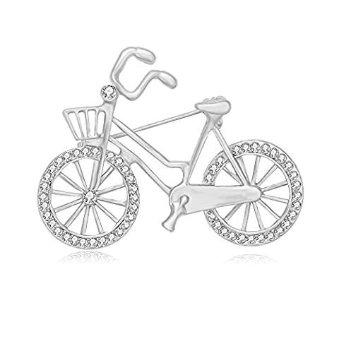 SENFAI Sports Style Gold Color Bike and Bicycle Brooch for Sportsperson (silver) - Bike Brooch Pin