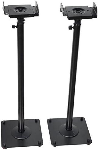 VideoSecu 8 Adjustable Steel Speaker Stands Universal Floor Stands for  Front or Rear Surround Sound Speakers W8V