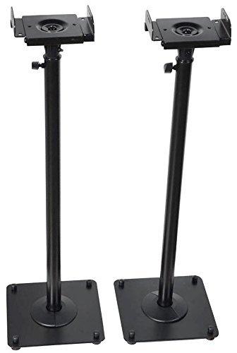 - VideoSecu 2 Adjustable Steel Speaker Stands Universal Floor Stands for Front or Rear Surround Sound Speakers W1V