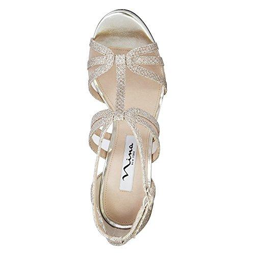 Nina Women's Fanetta Platform Sandal Silver/Champagne Diamond Mesh Glitter/Mesh F1GrW