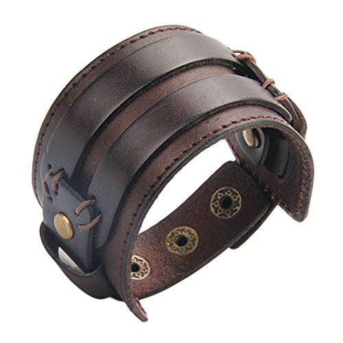 Handmade Kids - AZORA Punk Leather Bracelet Handmade Cuff Bangle Braided Wristband Adjustable Bracelets for Men,Kids,Boys,Women (AL0026-NEW-BROWN)