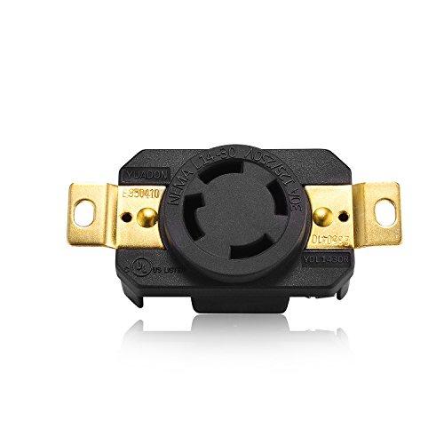 Aweking UL Listed NEMA L14-30R Receptacle Connector Socket,30A 30 Amp,AC 125V/250V 125 Volt/250 Volt,3 Pole-4 Wire,Grouding,Twist Locking,Black Gray - Locking Receptacle