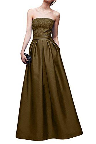 Ballkleider Spitze Abendkleider Brautmutterkleider A Festlichkleider La Linie Satin Braut Braun Elegant mia Jugendweihkleider Lang pSAZfCqg
