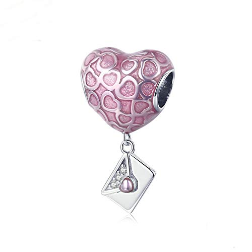 Romantic Love Pendant Charm - Love Bracelets Charm Beads 925 Sterling Silver Lover Romantic Pendant for Women and Girls Fit DIY Bracelet or Necklace (Pink Heart)
