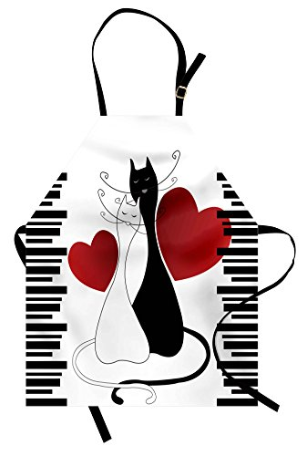 Ambesonne Cats Apron, Romantic Kittens Pets Couple Two Tails Hearts and Black Stripes Valentine's Love, Unisex Kitchen Bib Apron with Adjustable Neck for Cooking Baking Gardening, White Black Red