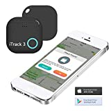 Key Finder, iTrack 3 Bluetooth Wireless Key Finder Phone Tracker Wallet Pet Locator Device Anti lost Motion Alert Bidirectional find (Black)