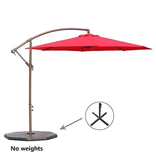Le Papillon 10-ft Offset Hanging Patio Umbrella Aluminum Outdoor Cantilever Umbrella Crank Lift, Red [New Generation Production] Side Post Patio Umbrellas