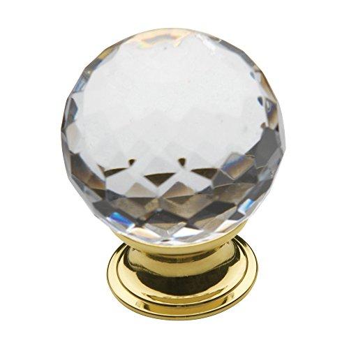 Baldwin Brass Round Pull - Baldwin Estate 4319.030 Round Crystal Cabinet Knob in Polished Brass, 1.56