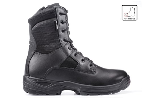 RUGGEDIM YDS Men's 8 inch Military Tactical Combat Leather Work Patrol Boot with Zipper