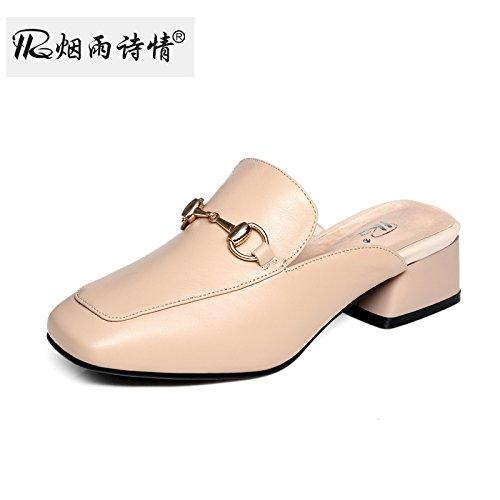 KPHY Mitte - Heels Damenschuhe Cool Hausschuhe Sommer Damenschuhe Heels Baotou Grob Hacken Coole Schuhe. ba49eb