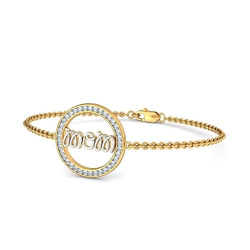 Or jaune 18K, 0.444CT TW Round-cut-diamond (Ij| SI) Identification-bracelets
