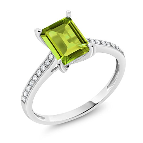 (Gem Stone King 10K White Gold Green Peridot and White Diamond Women's Engagement Ring 1.78 Ct Emerald Cut (Size 6))