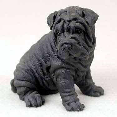 (Shar Pei Dog Figurine - Black)